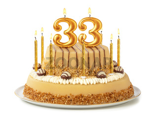 Festive cake with golden candles - Number 33