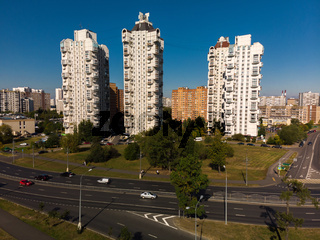 Moscow, Russia - September 20. 2018. view of residential high-rise buildings in Zelenograd
