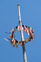 traditional german maypole against blue sky