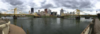 Panoramic View of the River and Bridges into Pittsburgh PA