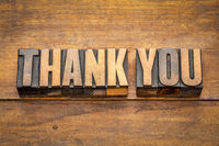 thank you word abstract in vintage wood type