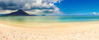 Sandy tropical beach. Beautiful landscape. Panorama.