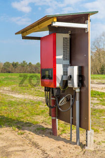 Dutch solar panel inverter outside in landscape