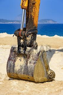 Yellow excavator detail
