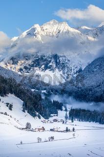 Snowy valley in Valle Aurina