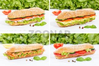 Baguette Vollkorn Brötchen Collage Schinken Salami Käse Fisch auf Holzbrett