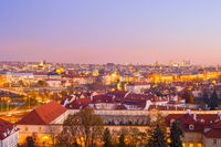 skyline  Prague twilight Czech cityscape