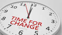 Time for change clock text modern bright style