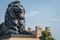 Brass lion sculpture in Rochester