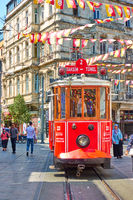 Old tram in Istiklal street in Istanbul