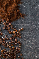 Coffee beans and ground coffee beans.