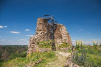 Ruins of gothic medieval castle Lichnice, Iron Mountains, Pardubice region, Czech republic. Castle ruins.