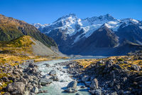 Glacial lake in Hooker Valley Track, Mount Cook, New Zealand