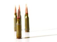 Ammunition cartridges on white background