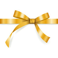 Golden bow with horizontal ribbon isolated on white background for gift decoration, greeting card, holiday design, vector