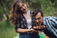 Funny couple out on picnic.