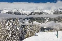 View into the snow-covered Valle Aurina