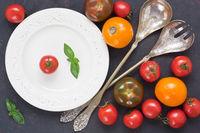 Assortment fresh colorful tomato for salad