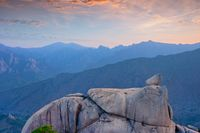 View from Ulsanbawi rock peak on sunset. Seoraksan National Park, South Corea