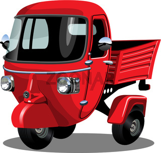 Vector cartoon delivery scooter isolated on white