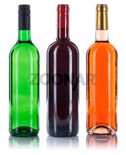Wein Flaschen Weinflaschen Sammlung Rotwein Weißwein Rose freigestellt