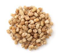 Top view of dried white mulberries