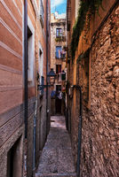 Narrow Alley And Houses In Girona City Old Quarter