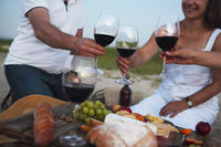 People drinking red wine outdoor