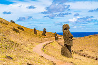 View of Moais Quarry at Rano Raraku on the Easter Island