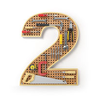 Number 2 two. Alphabet from the tools on the metal pegboard isolated on white.