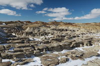 Bisti Badlands Wilderness Area in winter with snow, New Mexico, USA