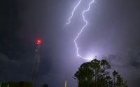 Atlantic Seaboard Thunderstorm Electrical Storm Strikes Lightpost