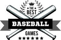 Emblem for the best baseball games consisting of a wreath of baseball laces and bats. Vector