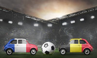 France and Belgium cars on football stadium