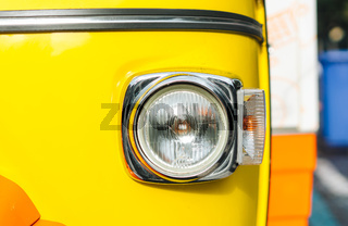 Headlight of old vehicle close up shot