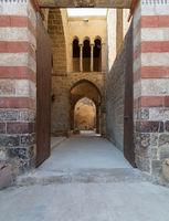 Exterior shot of entrance of Al-Muayyad Bimaristan (hospital) historic building, Old Cairo, Egypt