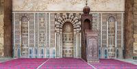 Mihrab (niche) and wooden Minbar (Platform) at the Mosque of Al Nasir Mohammad Ibn Qalawun, Citadel of Cairo, Egypt
