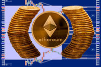 Ethereum coin surrounded by reflected circle of pure gold coins