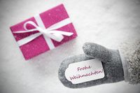 Pink Gift, Glove, Frohe Weihnachten Means Merry Christmas, Snowflakes