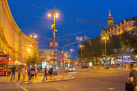 People street Khreshchatyk Kiev twilight
