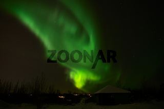 Northern light in Heidmork, Iceland