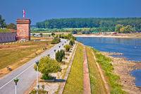 Drava river walkway in Osijek and Tvrdja walls view