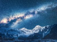 Milky Way and Beautiful Manaslu, Himalayas. Space
