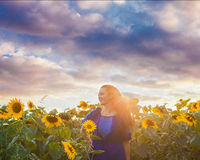 The woman rejoices of rich harvest