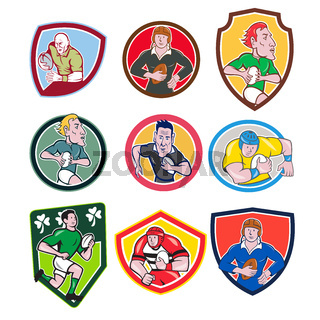 Rugby Player Icon Cartoon Set