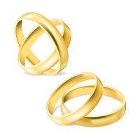 Set of gold engagement rings isolated on white background