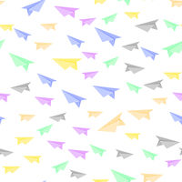 Colorful Paper Plane Seamless Pattern