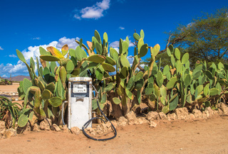 Old gas pump in the Namib Desert, Solitaire, Namibia