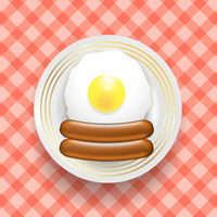 Natural Egg and Two Realistic Boiled Sausages. Top View