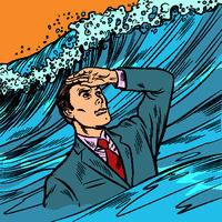 Crisis Manager. businessman leader looks far ahead